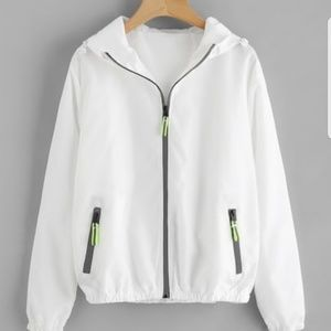 Jackets & Blazers - BUY 1 GET 1 FREE WHITE NYLON ZIP UP HOODED JACKET